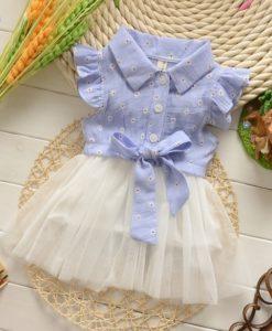 Adorable little girls flutter sleeves highwaist with ball gown Tutu