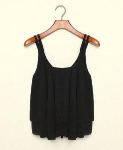 Chiffon loose sleeveless tank top blouse