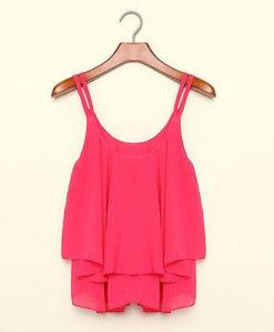Rose chiffon loose tank top blouse