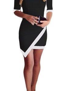 Scoop neck asymmetrical color block mini dress