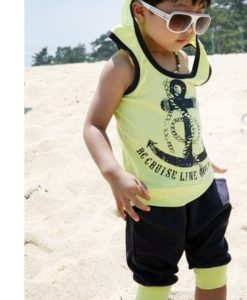 Yellow hoodie T Shirt & boys harem shorts