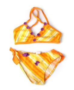 Gold little girls swimsuit