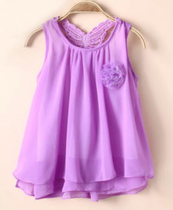 Purple tutu chiffon sleeveless summer girls dress