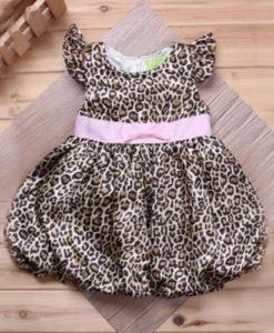 leopard print kids party dress