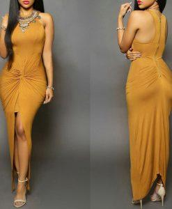 Gold Front Slit Ruched Maxi Dress