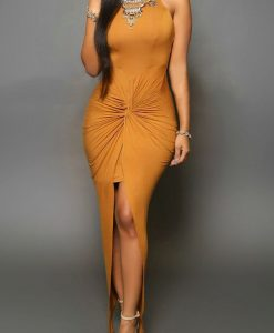 Gorgeous Ruched front slit maxi dress