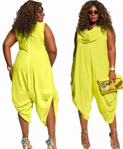 Neon green plus size jumpsuit