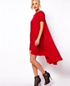 Red chiffon irregular dress