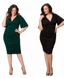 Ruched plus size flutter sleeve dress