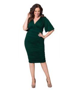 green flutter sleeve plus size dress