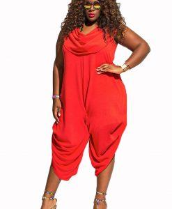 plus size red jumpsuit