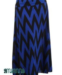 Blue black deep wave maxi skirt