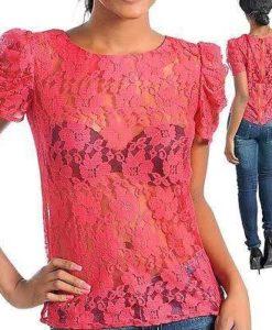 Coral plus size lace blouse