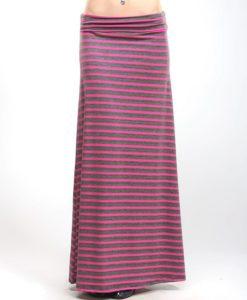 Gray pink stripe maxi skirt