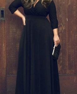 Plus size plunging neck boho maxi dress