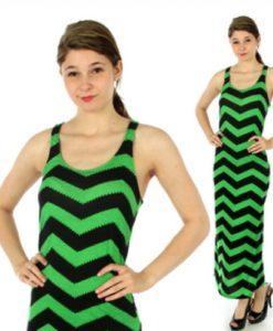 green racerback chevron maxi dress