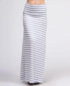 grey stripe maxi skirt