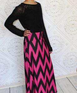 pink & black chevron maxi skirt