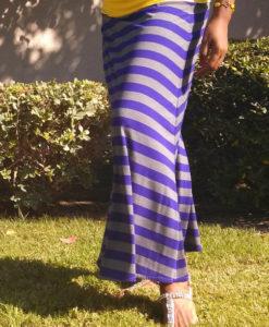 purple grey stripe maxi skirt